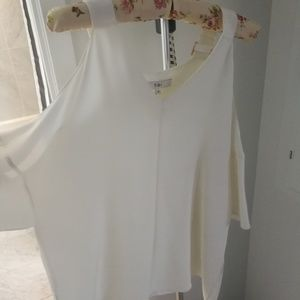 Tibi white off shoulder silk top